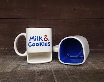 Cookies and Milk Dunk Mug - Ceramic Cookie Holder Mug - Sapphire Blue Interior