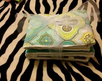 Aqua, Yellow and Polka Dot   Burp Cloth Set