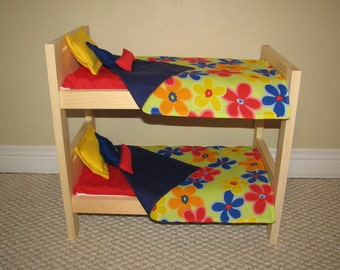 "18"" Doll Bunk Bed Bedding Set - Big Primary Flowers - Red, Blue, Orange and Yellow - BEDDING ONLY"