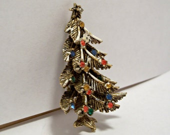 Vintage Christmas Tree Pin, Christmas Tree Brooch,ART Christmas Tree,Signed ART,Rhinestone Christmas Tree,Flocked Christmas Tree Pin,ART Pin