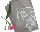 Linen Tea Towel Screen Printed Linen Hand Printed Linen Teatowel White&Natural Gum Tree Design