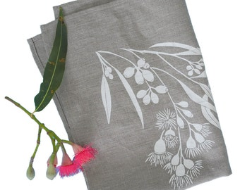 Linen Tea Towel Screen Printed Linen Hand Printed Linen Teatowel White&Natural Gum Tree Design