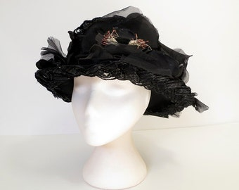 50s hat / 50s black picture hat / 50s vintage hat / black cello straw silk flower hat / womens 50s fashion hat / black ladies hat