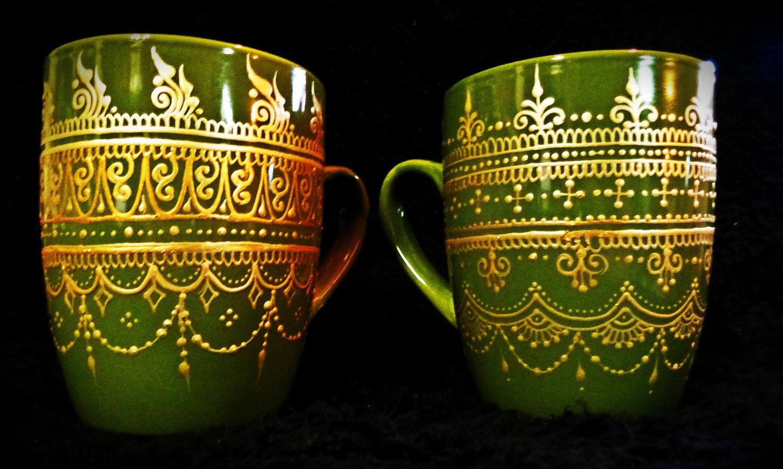Henna Mehndi Green St : Grass green painted mugs henna mehndi style set of