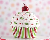 Cupcake Ornament / Christmas Ornament - Mini Red Green and White Stripe #CUP214
