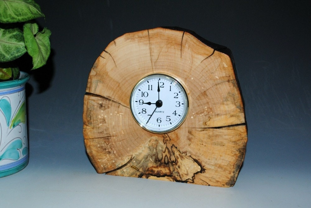 Handmade Clock Spalted Maple Upcycled Wood Clock
