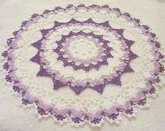 purple doily hand made crocheted size 10 original design made in USA