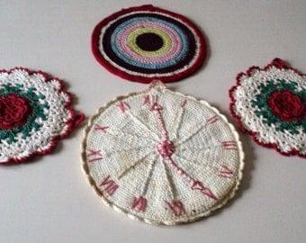 4 1940s Handmade Crocheted Potholders
