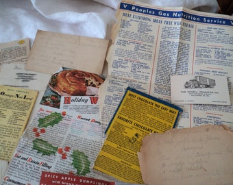 1940s Estate Lot Handwritten Recipes. Company Leaflets. Clipped Newspaper Recipes. 1940s Domestic Bills for Sink, Vacuum, Laundry.