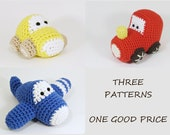 Amigurumi vehicles crochet pattens car, airplane and train toys for little boys written in US English