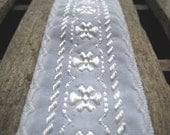 """White Embroidered Trim Scallop Edge Detail - 3 Yards / 1& 1/2"""" Wide  -White on White - Dimensional  - Sewing"""