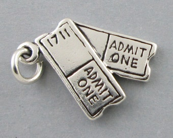 Sterling Silver 925 Charm Pendant SHOW TICKETS Movie Theater Concert 3694