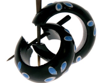 Wood Earrings - Small Black Hoops with Blue Flower