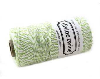 Bakers Twine 240 yard spool - APPLE GREEN & White Bakers Twine String for crafting, gift wrapping, packaging, invitations