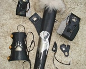 "Tooled Archery Hip Quiver, Arm Guard and Two Belt Pouched ""White Bear"""