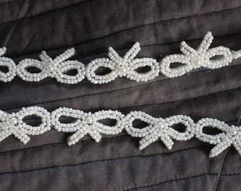 Beaded Bow Trim in WHITE