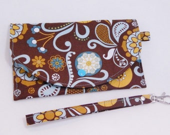 Teal Floral Wristlet,  Phone Wristlet, Mini Wallet, Floral Wristlet, Coupon Organizer, Made in USA