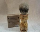 Sustainably Harvested Bethlehem Olivewood Shaving Brush, 26mm Silvertip #AA4