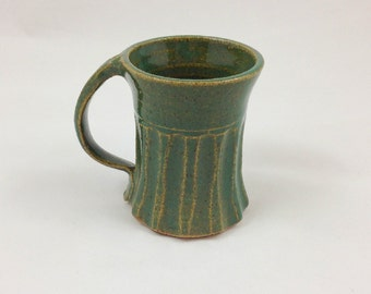 Spring Green Facetted Pottery Mug Handmade by Daisy Friesen
