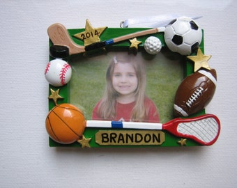 Personalized Christmas Ornament MVP Sports Picture Frame - Basketball, Soccer, Baseball, La Crosse, Football - Team, Coach
