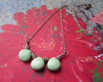 Gemstone Necklace, 3 Teardrop Necklace, Chalk Turquoise Necklace, Beaded Necklace, Simple Necklace