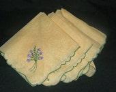 Four Vintage  Embroidered Napkins With Violets
