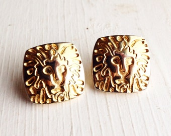 Vintage Lion Earrings / Signed Avon / Gold Pierced Post Back Studs / Square