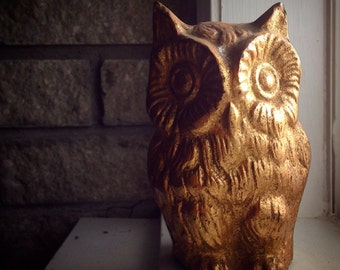HEAVY Brass Owl in Gold / Rustic Glamour / Vintage Home Decor / Bohemian Cabin / Hippie Style