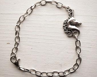 Unicorn Layering Bracelet / Silver Tone / Pick Your Length