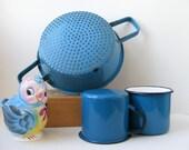 Vintage Enamel Blue White Colander Strainer Sieve Steamer - Shabby Chic - Rustic - Farmhouse - French Kitchen - Country Kitchen