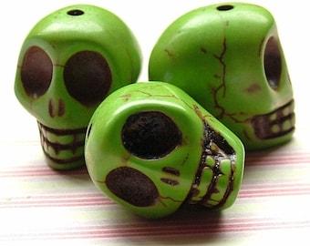Green faux howlite skull beads set of 5