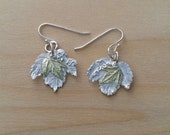 small silver maple leaf earrings, gold maple leaves, mixed metal