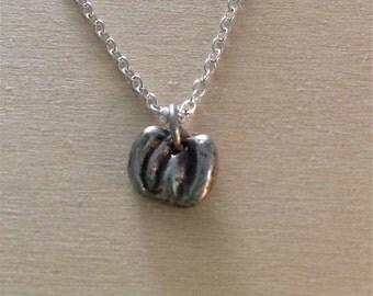 tiny pumpkin necklace, thanksgiving pendant, silver necklace, harvest, halloween necklace, jack o lantern