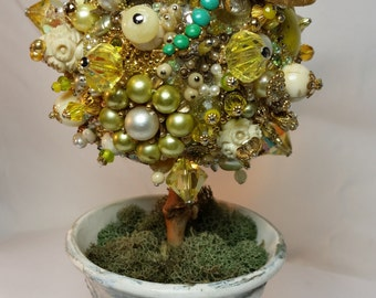 Medium Topiary Yellow and Gold OOAK Vintage Jewelry Home Table Decor CUSTOM
