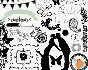 Fresh Wedding Clip Art - Photoshop Brushes and Digital Graphics - Bride & Groom Silhouette - Frames ClipArt - DIY