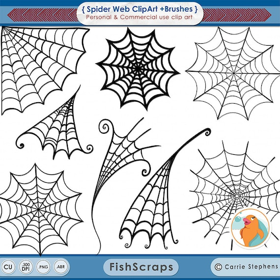 Spider Web Clip Art, Spooky Halloween Clip Art, Digital Stamps + Photoshop Brush, Boy Spider Man Birthday Party Digital Graphics,