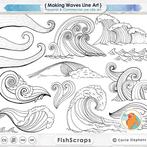 Line Art Waves : Wave line art silhouettes water clip coastal clipart