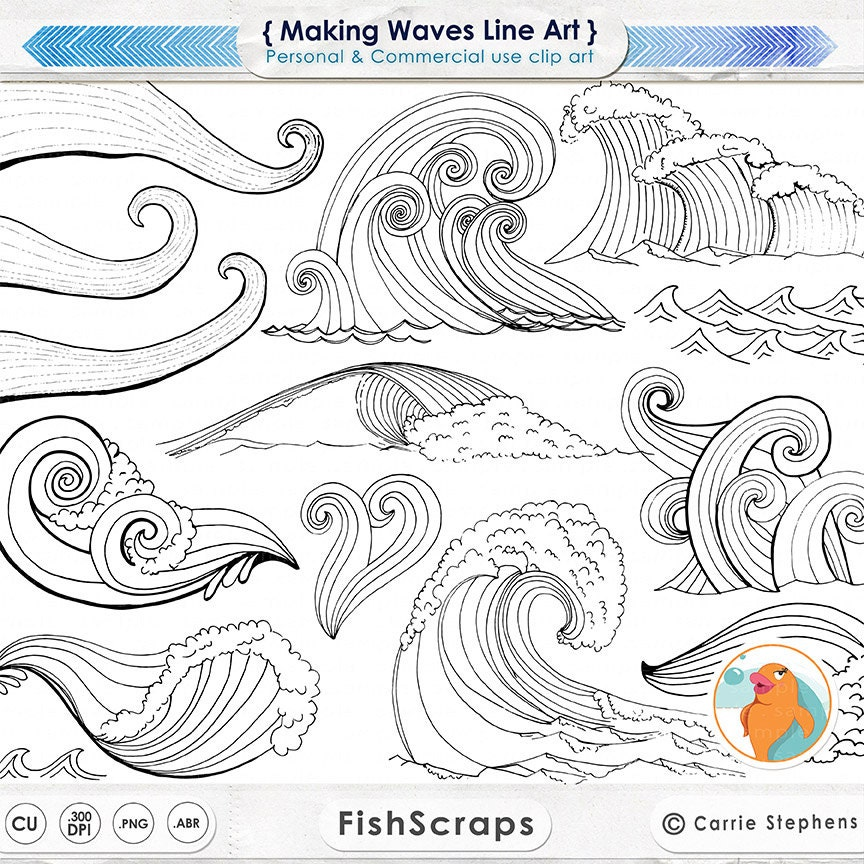 Line Art Digital : Wave line art silhouettes water clip coastal clipart
