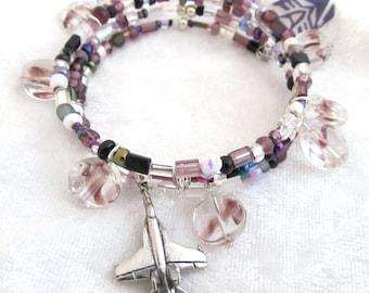 Decepticon Skywarp memory wire bundle bracelet