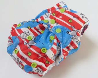 ALL NEW Longer Wings! One Size Bamboo AI2 Cloth Diaper Puppy Stripe