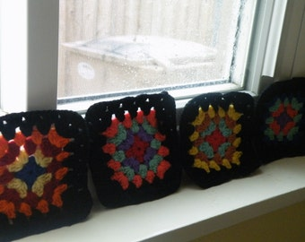 50% off this item, enter LOVE99 at checkout, Vintage Retro Coasters, Crocheted Coasters, Granny Square Coaster, Coaster, Black, Home Decor