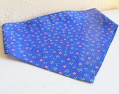 Beautiful Blue Girls Head Scarf With Small Flowers And Blossoms