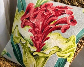 """Tropical Floral Vintage Barkcloth Pillow Cover - 17"""" x 17"""" - Fuschia, Pinks, Teal, Lime, Citrine Green on Grey"""