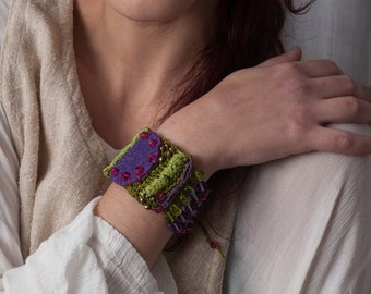 Green, Mauve, Fuscia Chroceted, leather and Beaded Bracelet
