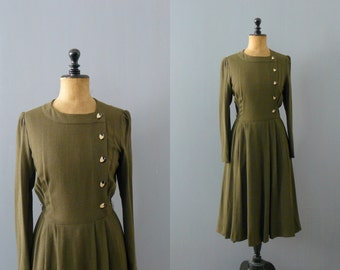Vintage 1970s dress. Military style dress. Olive green dress
