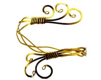 Brass Arm Bracelet, Gold Upper Arm Cuff, Upper Arm Band, Egyptian Armlet, Upper Arm Bracelet, Gold Arm Bangle, Arm Cuff Bracelet
