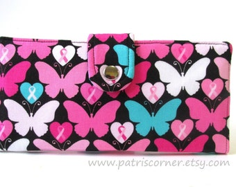 CLEARANCE - Handmade wallet brave heart and butterflies in pink - Women's wallet with ID clear pocket - Bifold wallet - ready to ship