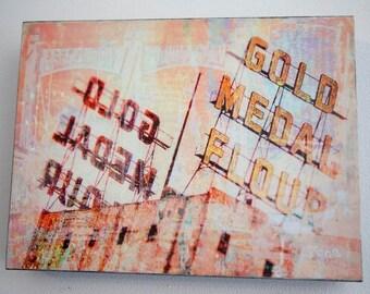 Gold Medal on wood, photo art, 9x12 inch wood panel, Minnesota art, wall art, office art, contemporary, colorful, bridge, small space art,