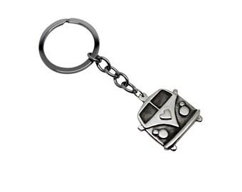 Kombi Van Sterling Silver Key Chain, Kombi Van, silver kombi, kombi, caravan, van keychain, key chain, silver key chain, silver key