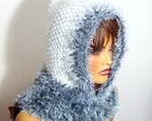 Hooded Women Winter Hat, Crochet White Gray Hooded Scarf, Fall Fashion, Ear Flap Hat, Winter  Fashion, crochet gray black  Women Hat